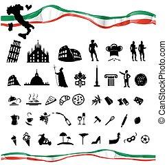 ITALIAN symbol set with flag isolated on white
