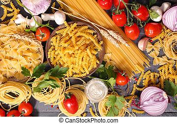 italian táplálék, háttér, hozzávaló