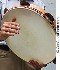 italian tambourine - italian musician playing tarantella ...