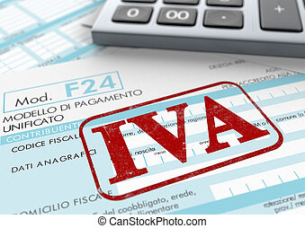 Italian taxes - close up view of F24 form for italian...