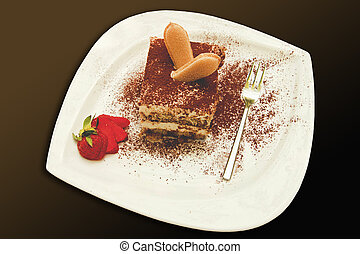 Italian tiramisu with strawberry