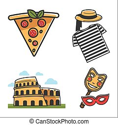 Italian traditional elements colorful vector poster on white