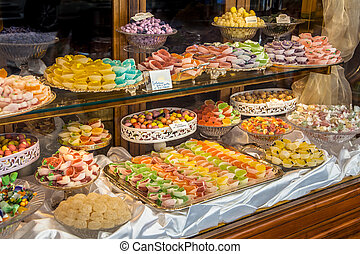 Pastry shop glass display - Italian traditional Pastry shop ...