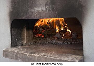 Italian traditional pizza  wood oven