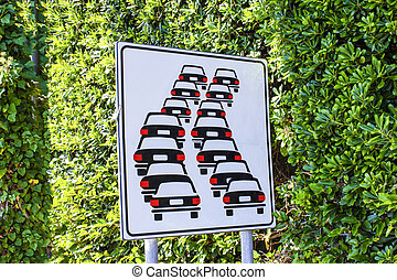 Italian traffic sign. Queues likely on road ahead.