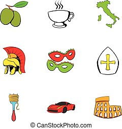 Italian travel icons set, cartoon style