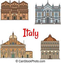 Italian travel landmark thin line icon set design - Italian...