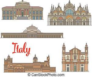 Italian travel landmarks of arts and religion