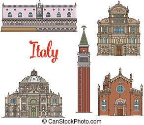 Italian travel landmarks of Venice linear icon set - Italian...