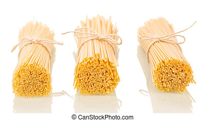 Italian uncooked pasta isolated on white background
