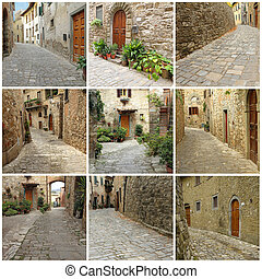italian village collage - collage with picturesque paved...