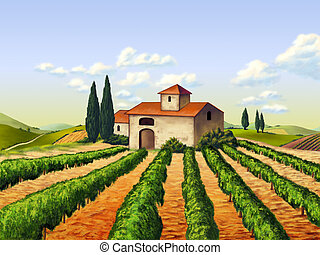 Vineyard in Tuscany, Italy. Original digital illustration.