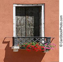 Italian window - Italian Window with Flowers