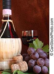 Italian wine with cork and grape