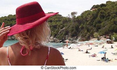 italian woman in Elba island beach - SLOW MOTION: Elegant ...