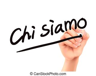 Italian words for About us written by 3d hand on a...