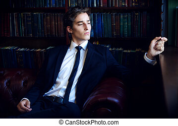 italian young man - Handsome well-dressed young man by the...