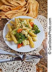 Italian Ziti Pasta Primavera - Vegetarian Italian ziti pasta...