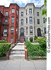 Italianate Style Row Homes Houses Washington DC Wide Angle -...