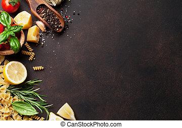 italiano, alimento., macarronada, ingredientes