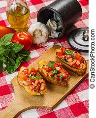 italiano, bruschetta, con, ingredienti