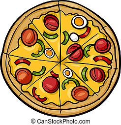italiano, caricatura, ilustração, pizza