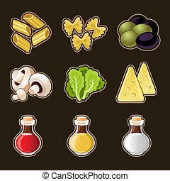 italiano cibo, set, icona