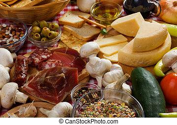 italiano de comida, ingredientes