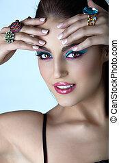 italiano, donna, con, moda, make-up.