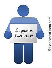 italiano, falar, desenho, ilustração, sinal