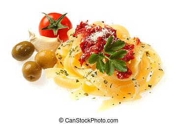 italiano, fettuccine, macarronada, com, tomate cereja