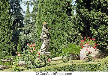 italiano, histórico, jardim