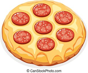 italiano, ilustração, pizza, vetorial