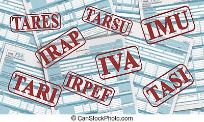 italiano, impuestos, concepto