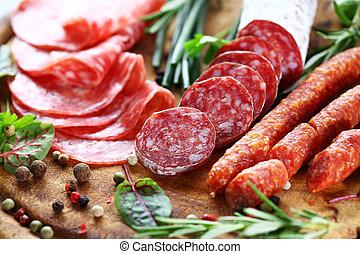 italiano, jamón, y, salame, con, hierbas