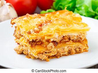 italiano, lasanha, ligado, um, prato