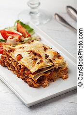 italiano, lasanha, ligado, um, quadrado, prato