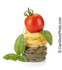 italiano, macarronada, com, tomate, cereja, e, manjericão