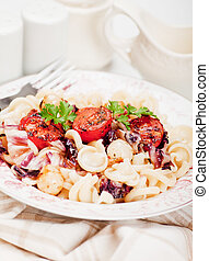 italiano, macarronada, com, tomate cereja