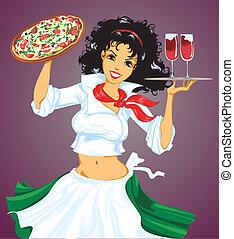 italiano, niña, con, pizza, y, vino