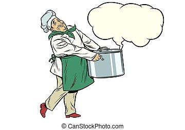 italiano, o, francés, chef, tenencia, un, olla caliente, nube, de, vapor
