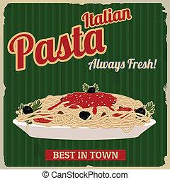 italiano, pastas, retro, cartel