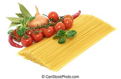 italiano, pastas, spagetti, con, vegetales