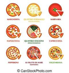 italiano, pizza, icone