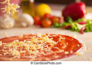 italiano, pizza, preparação, com, queijo, falling.