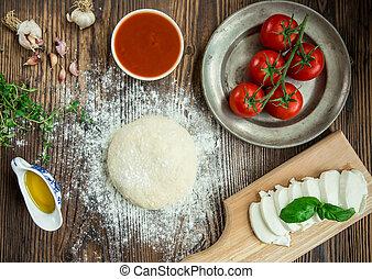 italiano, preparação,  pizza