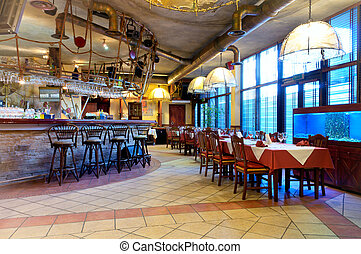 italiano, restaurante, com, um, tradicional, interior