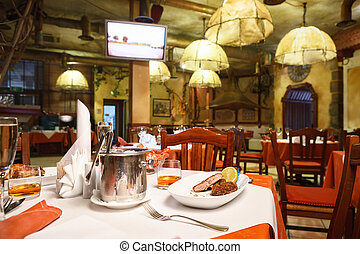 italiano, restaurante, interior.
