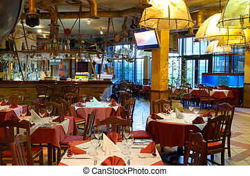 italiano, ristorante, con, uno, tradizionale, interno