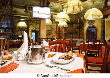 italiano, ristorante, interior.